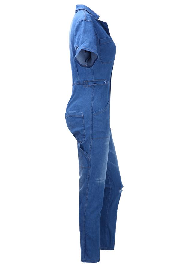 Casual Turndown Collar Short Sleeves Blue Denim One-piece Jumpsuits