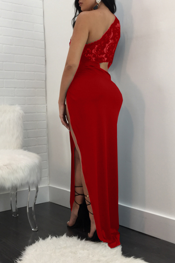 Сексуальный Росы Плеча Высокого Сплит Красный Полиэстер Оболочки Голеностопного Длина Платья