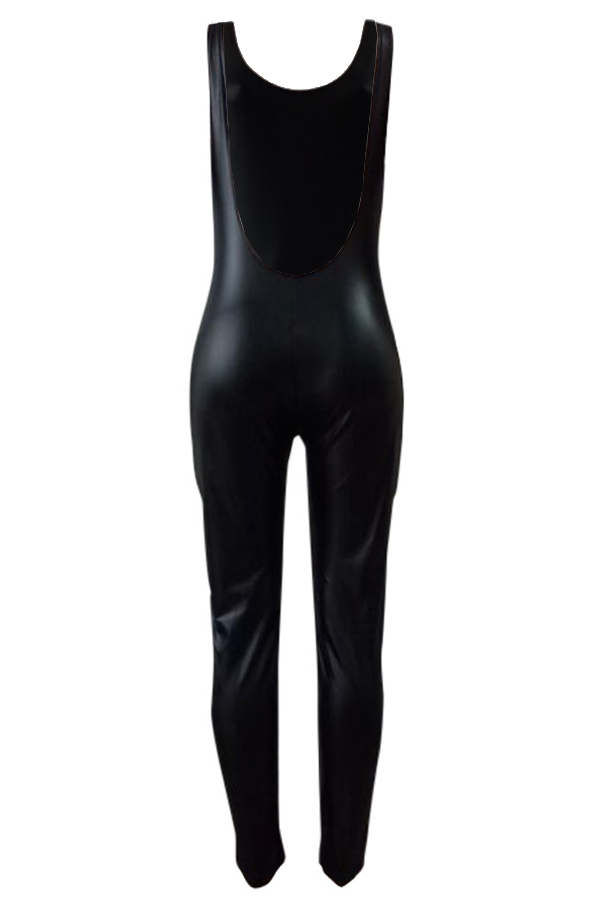 Fashion U Neck Backless Black Leather One-piece Jumpsuits