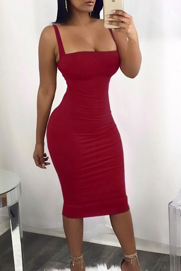 Sexy Square Neck Backless Lace-up Red Polyester Mid Calf Dress