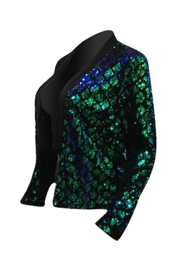 Sexy Mandarin Collar Sequins Decoration Green Polyester Blazer