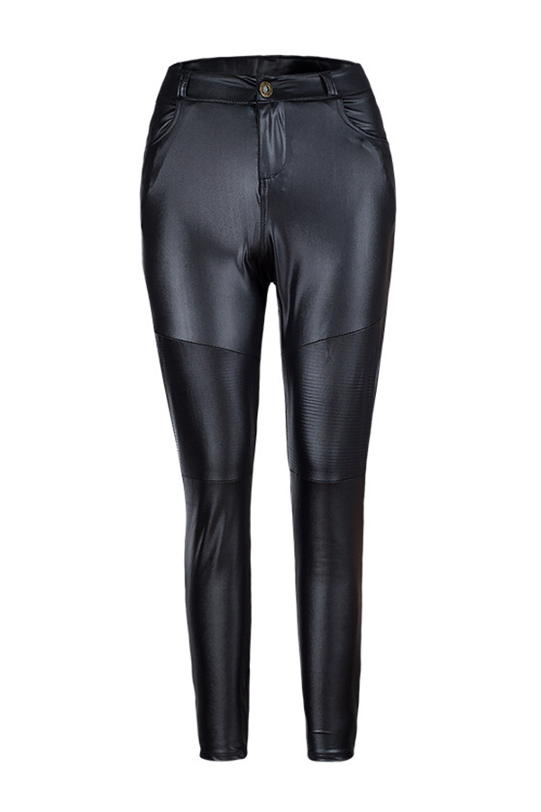 Fashion High Waist Black Leather Zipped Pants