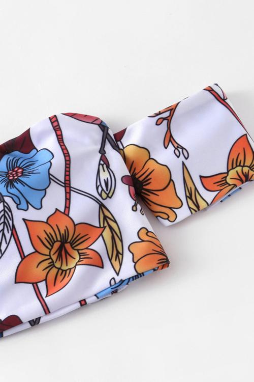 Amorous Feeling Printing White Nylon Bikini Set