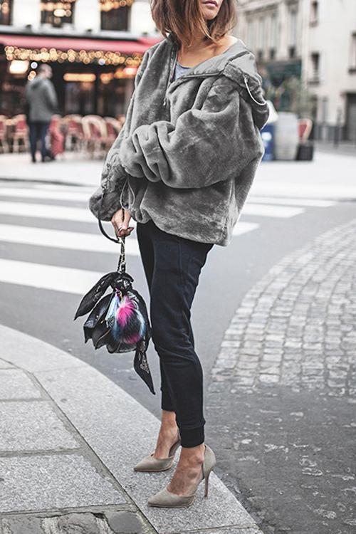 Lovely Chic Hooded Collar Zipper Design Grey Velvet Hoodie