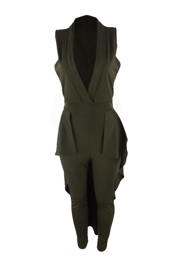 Sexy Turndown Collar Falbala Hems Design Army Green Polyester One-piece Jumpsuits