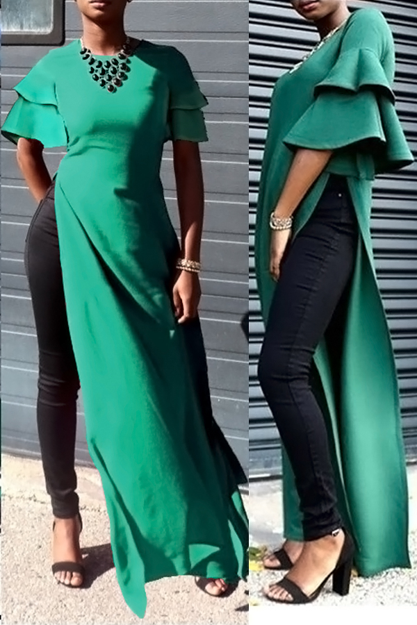 Sexy Round Neck Lotus Leaf Sleeves Kick Pleat Green Blending Blouses