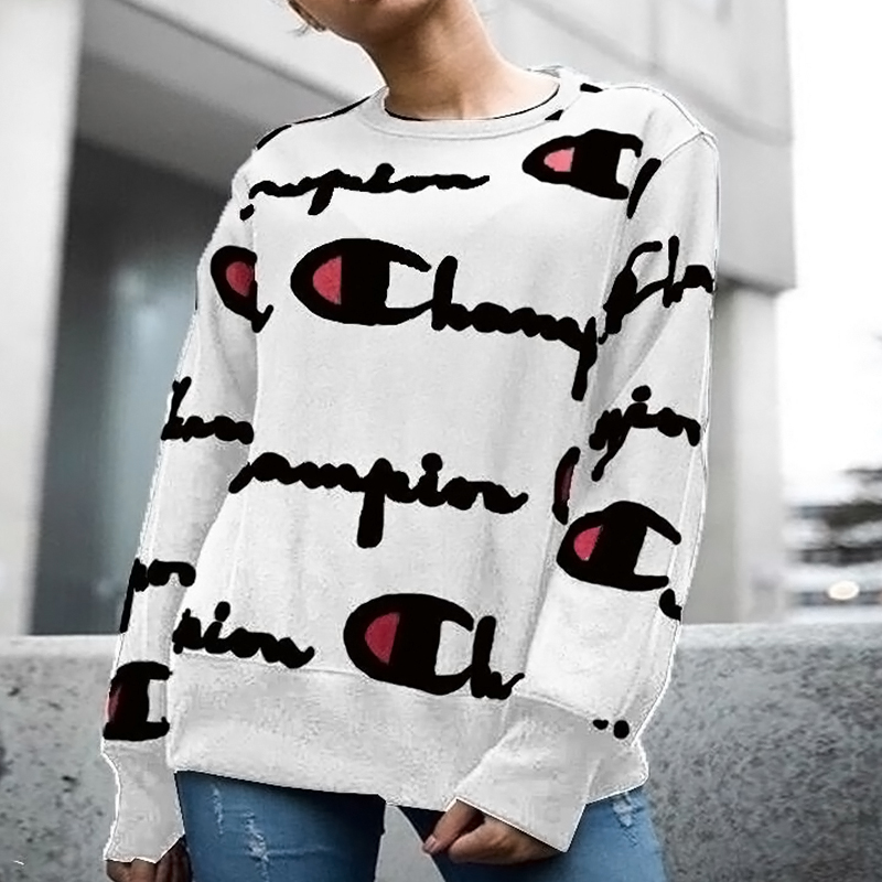 Casual Round Neck Printed White Polyester Hoodies(Non Positioning Printing)<br>