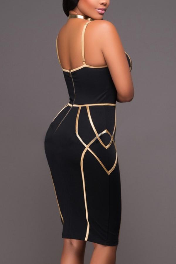 Sexy Spaghetti Strap Sleeveless Striped Printed Black Polyester Sheath Knee Length Dress