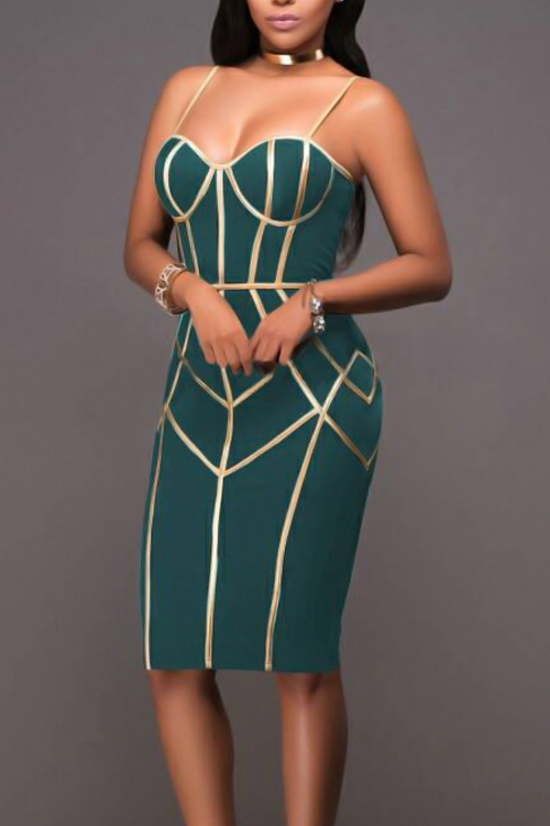 Sexy Spaghetti Strap Sleeveless Striped Printed Green Polyester Sheath Knee Length Dress
