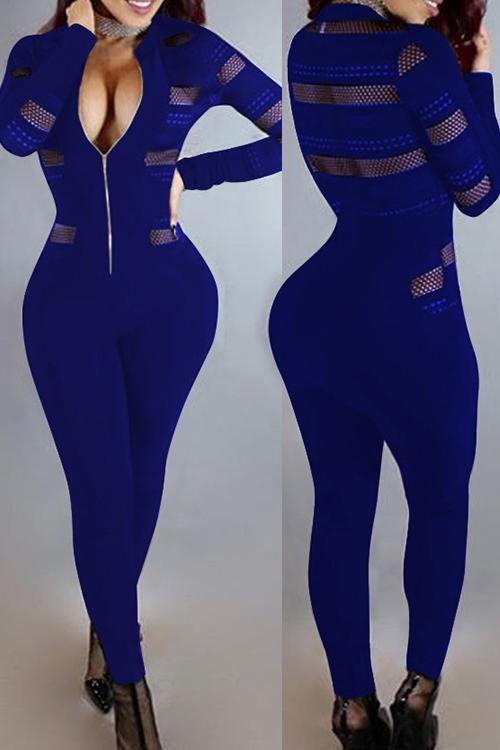 Sexy Cuello Redondo Manga Larga De Gasa Patchwork Azul Profundo Poliéster De Una Pieza Skinny Monos