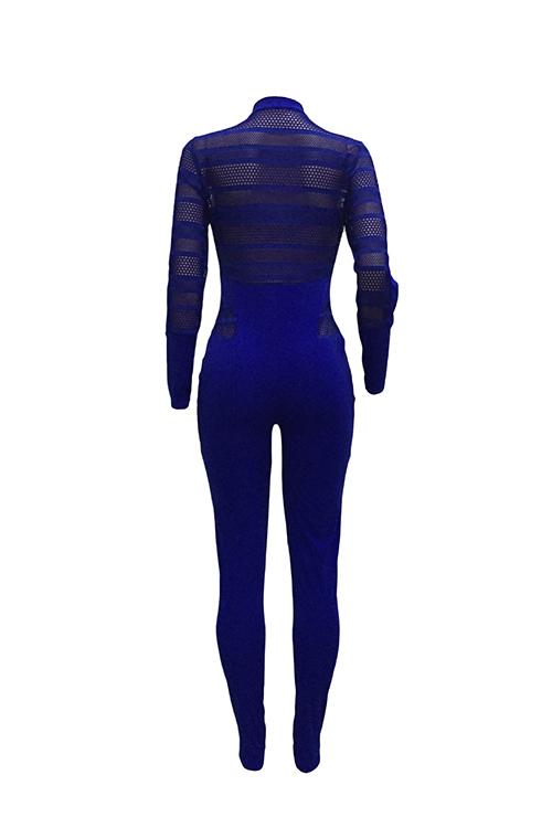 Sexy Rundhalsausschnitt Lange Ärmel Gaze Patchwork Tiefblau Polyester Einteilige Dünne Overalls