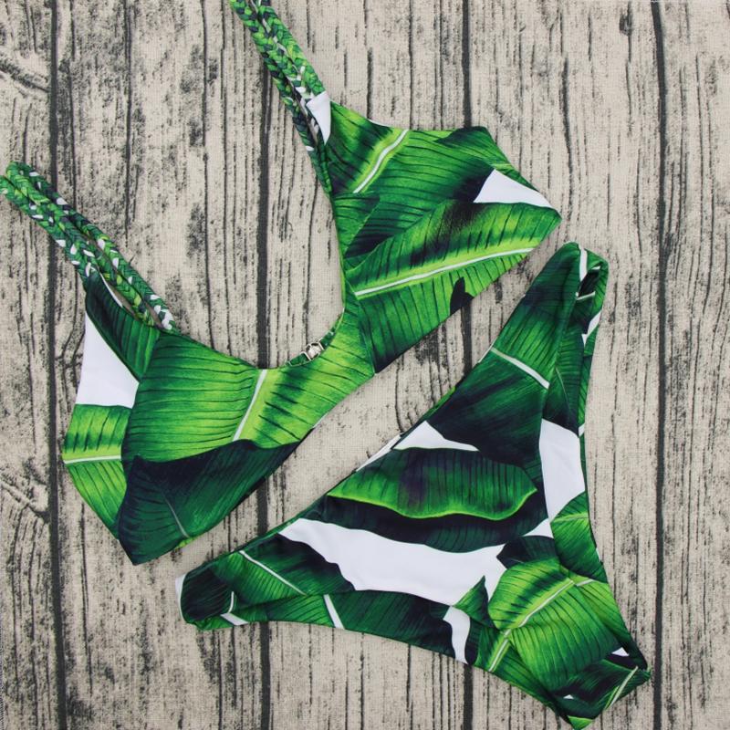 Sexy Leaf Printed Grün Polyester Bikini Set