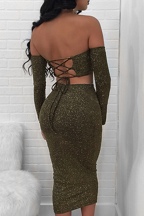 Sexy Bateau Neck Metallic Lace-up Army Green Polyester Two-piece Skirt Set