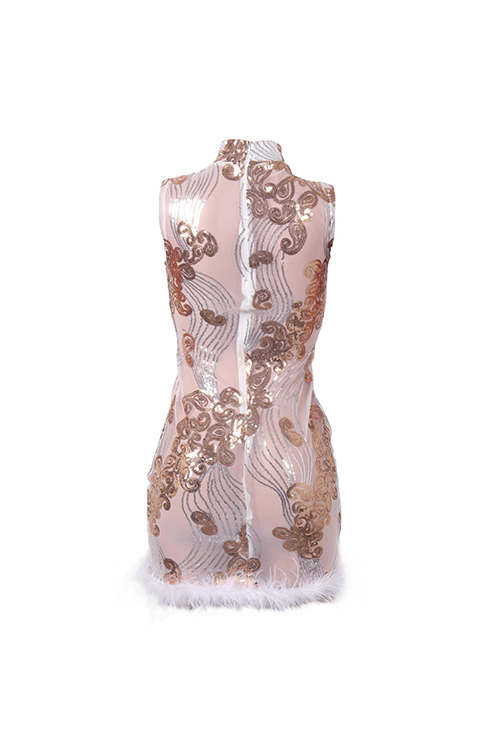 Sexy Mandarin Collar See-Through Sequins Decoration Maomao Hem White Polyester Mini Dress(Without Subcoating)