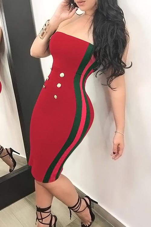 Sexy Bateau Cuello Botón Decorativo Rayas Rojo Poliéster Hasta La Rodilla Vestido