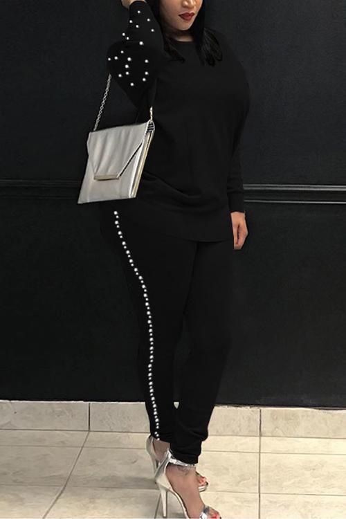 Casual Round Neck Pearl Decoration Black Blending Two-Piece Pants Set