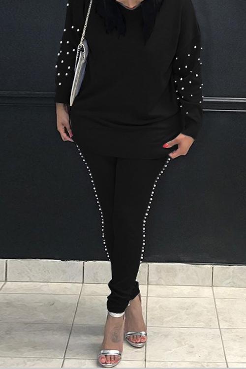 Casual Rundhalsausschnitt Perle Dekoration Schwarz Mischung Zweiteilige Hose Gesetzt