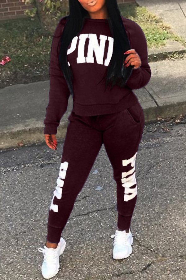 Casual Round Neck Letters Printed Wine Red Polyester Two-Piece Pants Set<br>