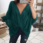 Ocio Cuello En V Diseño De Pliegue Cruzado Camisas De Poliéster Color Verde Oscuro