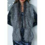 Fashion Faux Fur Design Dark Grey Wool Scarves