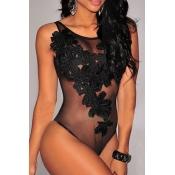 Sexy De Cuello Redondo Transparente Patchwork Negro Spandex Mono De Una Pieza