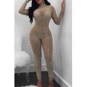 Sexy Round Neck See-Through Hot Drilling Decorative Apricot Polyester One-piece Jumpsuits(Without Lining)