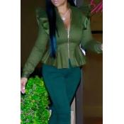 Fashionable V Neck Shrug Ruffle Patchwork Green Po