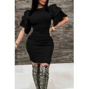 Sexy Round Neck Ruffle Sleeves Black Polyester Kne
