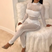 Sexy Round Neck See-Through Hot Drilling Decorative White Polyester One-piece Jumpsuits(Without Lining)