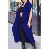 Euramerican Turndown Collar Irregular Diseño Azul Poliéster Chalecos Largos