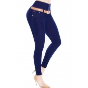 Trendy High Waist Button Design Blue Denim Jeans(W