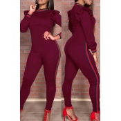 Trendy Round Neck Falbala Design Wine Red Polyester One-piece Jumpsuits