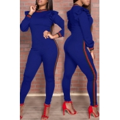 Trendy Round Neck Falbala Design Blue Polyester One-piece Jumpsuits