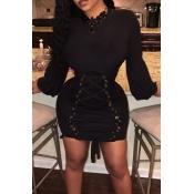 Trendy Round Neck Lace-up Black Polyester Sheath Mini Dress
