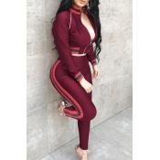 Collar De Mandarín Casual Patchwork Vino Rojo Que Hace Punto Pantalones De Dos Piezas Conjunto
