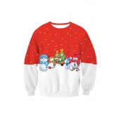 Casual Round Neck Christmas Printed Red-White Patc