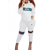 Leisure Hooded Collar Pocket Design Printed White Polyester Two-Piece Pants Set