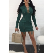 Sexy V Neck Bandage Design Dark Green Polyester Mini Dress