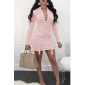 Sexy V-Ausschnitt Bandage Design Rosa Polyester-Minikleid