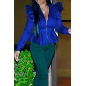 Fashionable V Neck Shrug Ruffle Patchwork Blue Pol