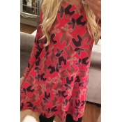 Casual Round Neck Printed Red Polyester Mini Dress