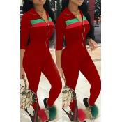 Stylish Mandarin Collar Striped Wine Red Blending Two-Piece Pants Set