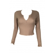 Stylish V Neck Long Sleeves Khaki Cotton Sweaters