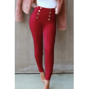 Fashion High Elastic Waist Wine Red Polyester Pant