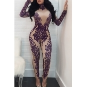 Sexy Turtleneck Printed Purple Polyester One-piece