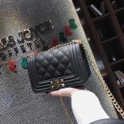 Fashion Rhombus Grid Design Black PU Crossbody Bag