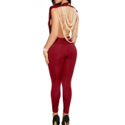Sexy Round Neck Backless Chain Of Pearls Decoration Wine Red Terylene+Cotton One-piece Jumpsuits