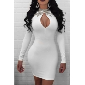 Sexy Mandarin Collar Hot Drilling Decorative Hollow-out White Healthy Fabric Mini Dress
