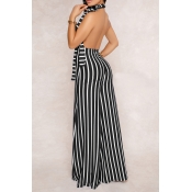Sexy Halter Neck Striped Patchwork Backless Black Polyester One-piece Jumpsuits(Without Belt)