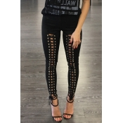 Fashion High Elastic Waist Lace-up Black Polyester